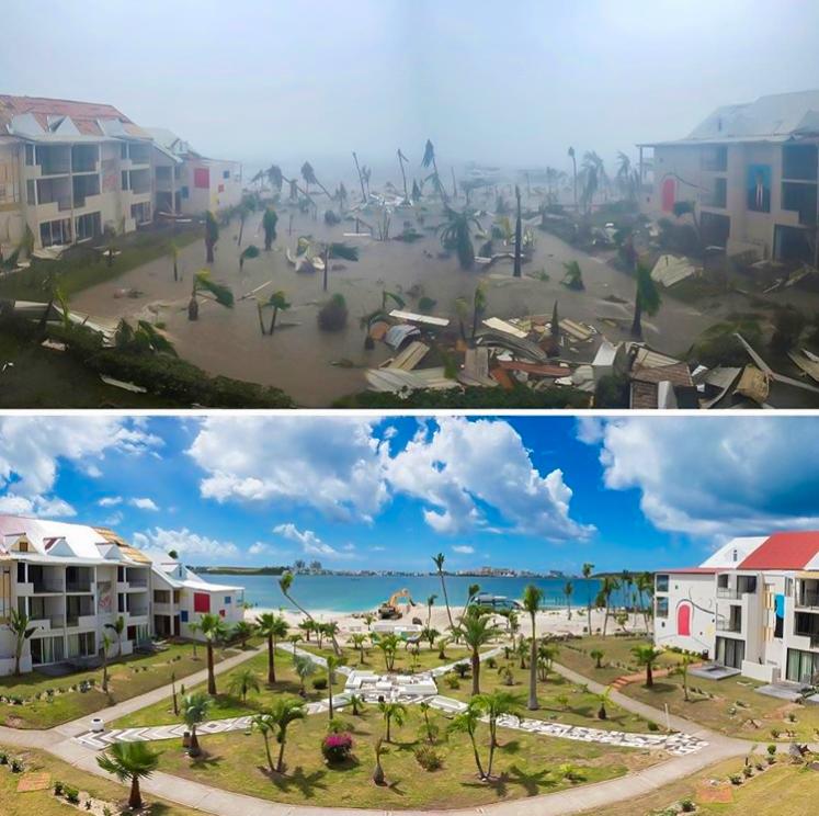 A photo comparison of the island.