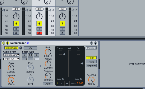 Compressor settings mid bassline.